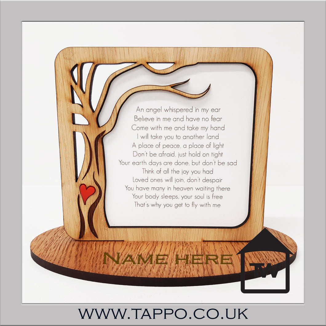 An angel whispered  memorial keepsake remembrance sympathy gift
