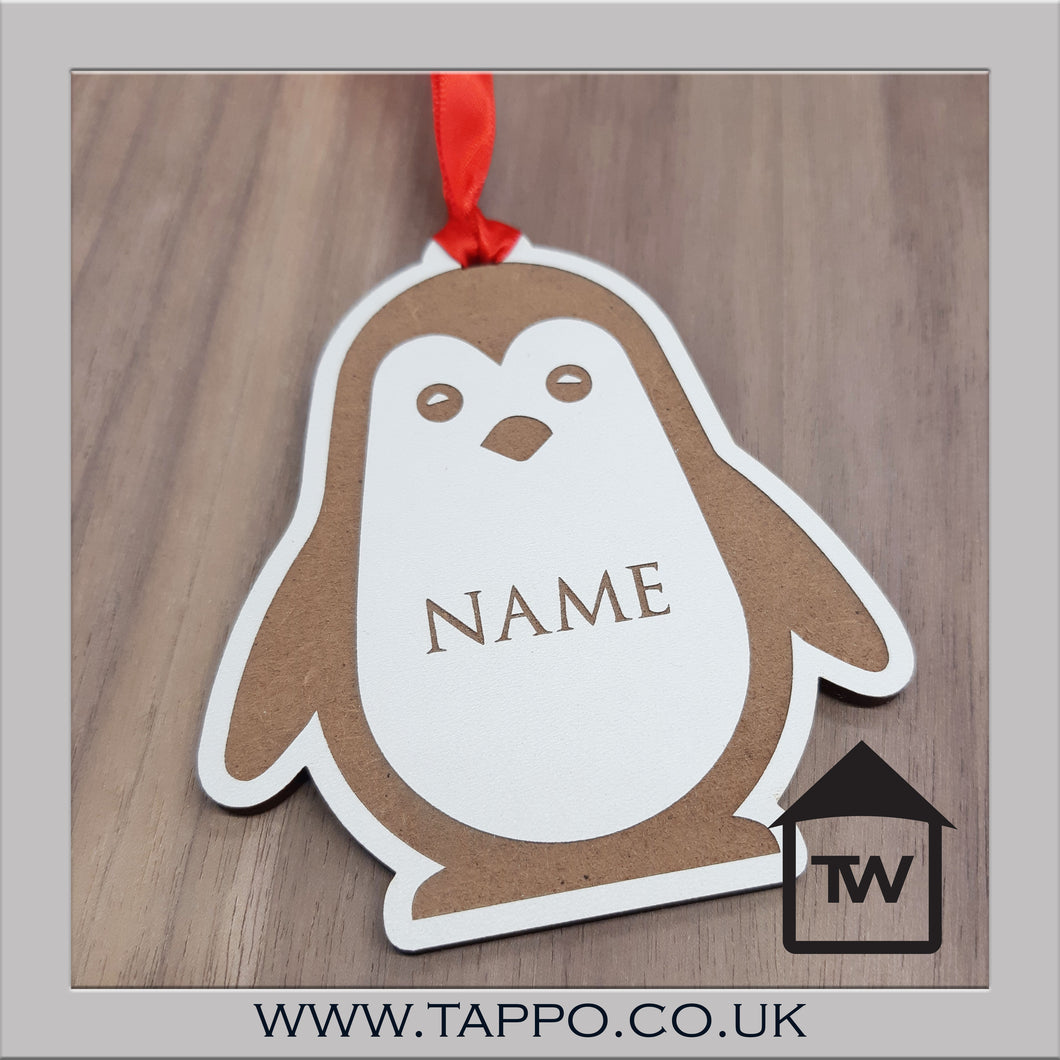 White Personalised Christmas tree hanging Decorations - Penguin