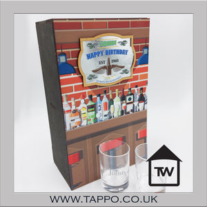 WOODEN pub design botte box with mirror and set of 2personalised Glasses