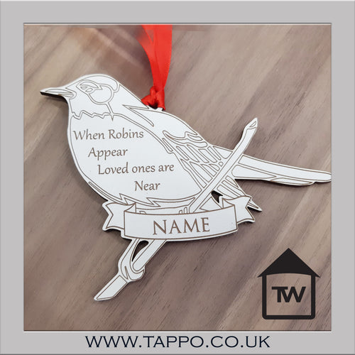 White Personalised Christmas tree hanging Decorations -ROBIN
