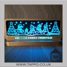 Christmas snowmen family sign, personalised Light up
