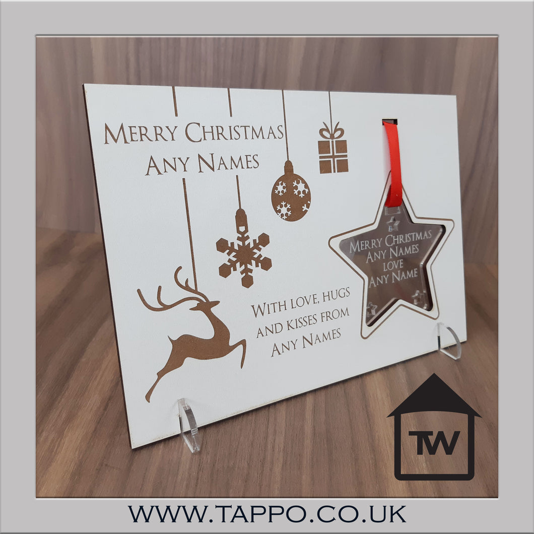 Bauble wooden Christmas Card with removable Hanging tree decoration