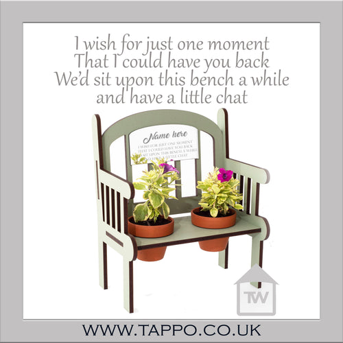 Outdoor Memorial Bench keepsake with pots