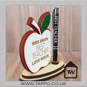 Teacher Gift Personalised apple pen stand