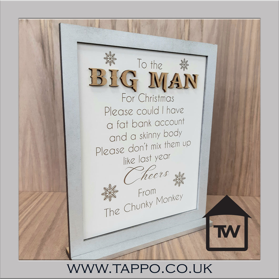 To the Big man Christmas Santa sign freestanding sign