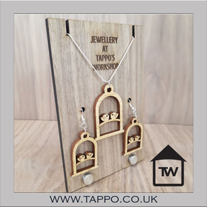 Love Bird Cage Jewellery Necklace and Earrings Oak