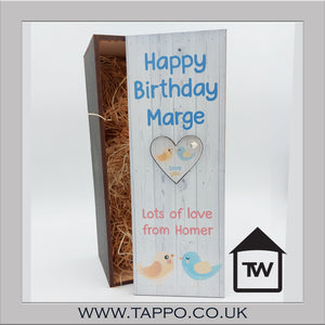 ANY TEXT Birds Keyring bottle gift box fit 70cl size - BOX & kEYRING ONLY