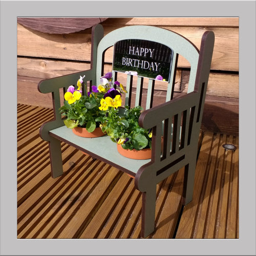 HAPPY BIRTHDAY Sage green Outdoor Bench keepsake with pots