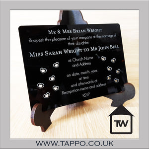A5 Acrylic Wedding Invitations Black and Clear