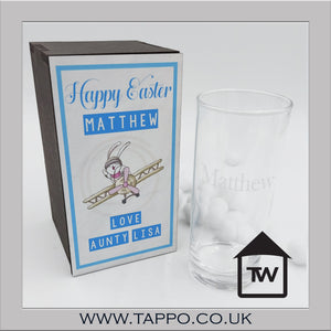 Easter Wooden Gift Boxed Personalised glass any text - Blue Rabbit style