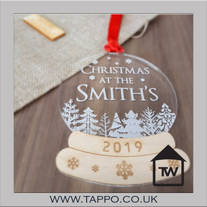 Personalised Family Christmas Snow Globe Hanging tree decoration