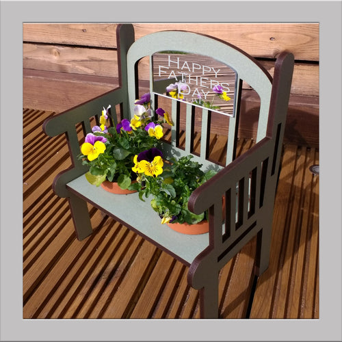 Fathers Day Sage green Outdoor Bench keepsake with pots