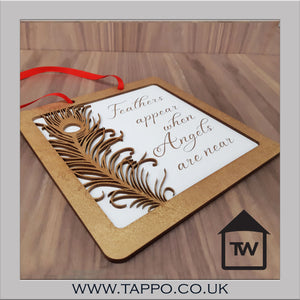 Feathers Angel white and gold hanging plaque sign