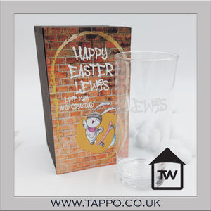 Easter Wooden Gift Boxed Personalised glass any text - Graffiti style
