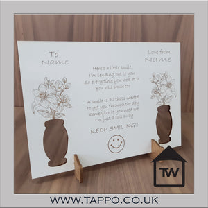 KEEP SMILING! card / plaque with stand delivered to any UK address