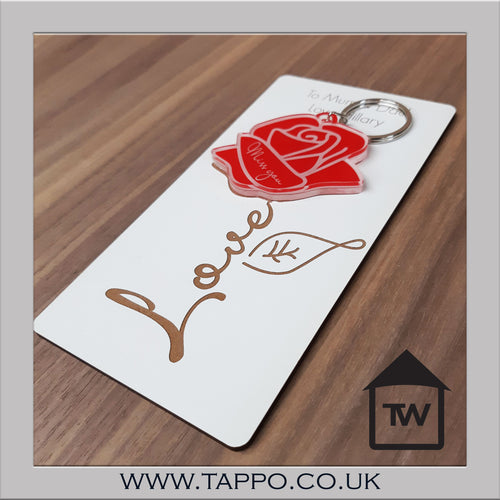 Rose keyring Keepsake personalised delivered to any UK address