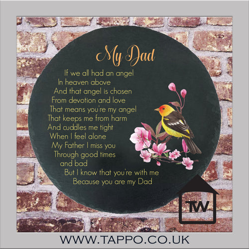 My Special Angel Dad slate bereavement sympathy graveside keepsake