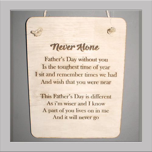 Fathers Day Never alone Plaque