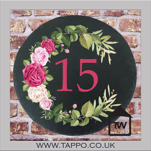 House Numbers sign -  FLOWERS DESIGN 2 PINK