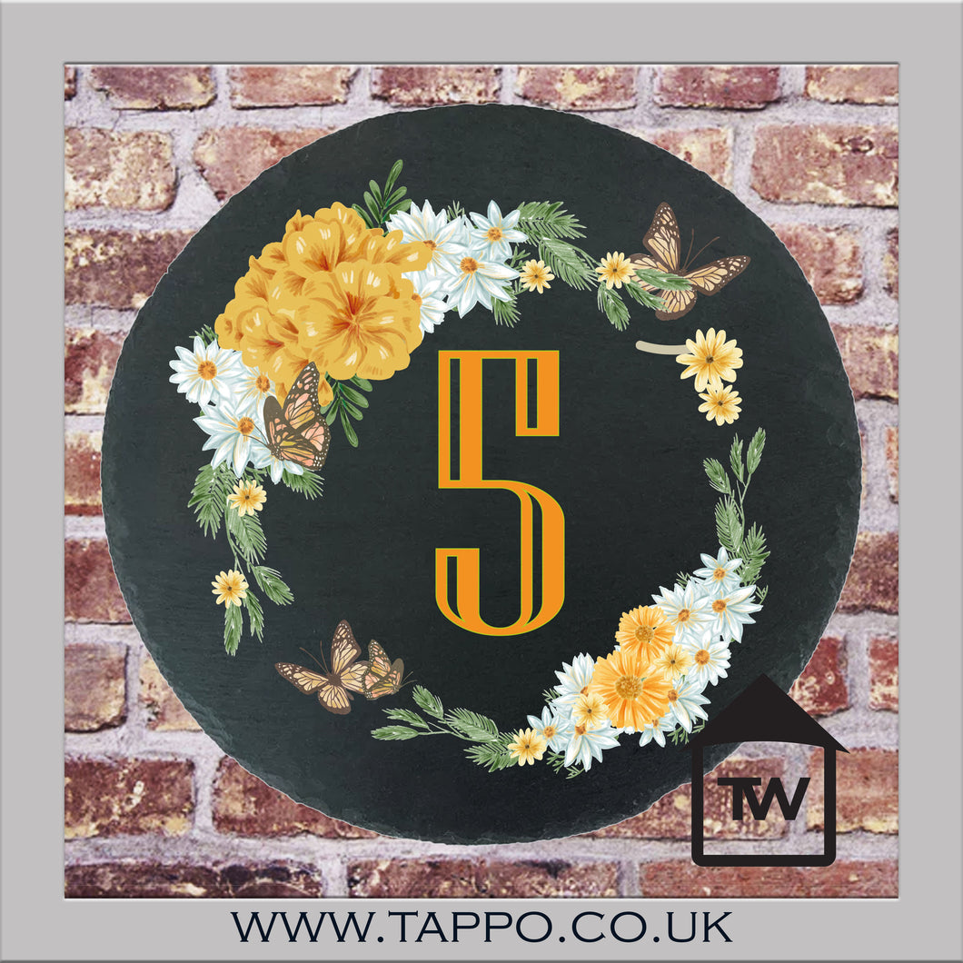 House Numbers sign -  FLOWERS DESIGN 1 YELLOW