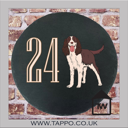 House Numbers sign -  SPRINGER SPANIEL DESIGN 1