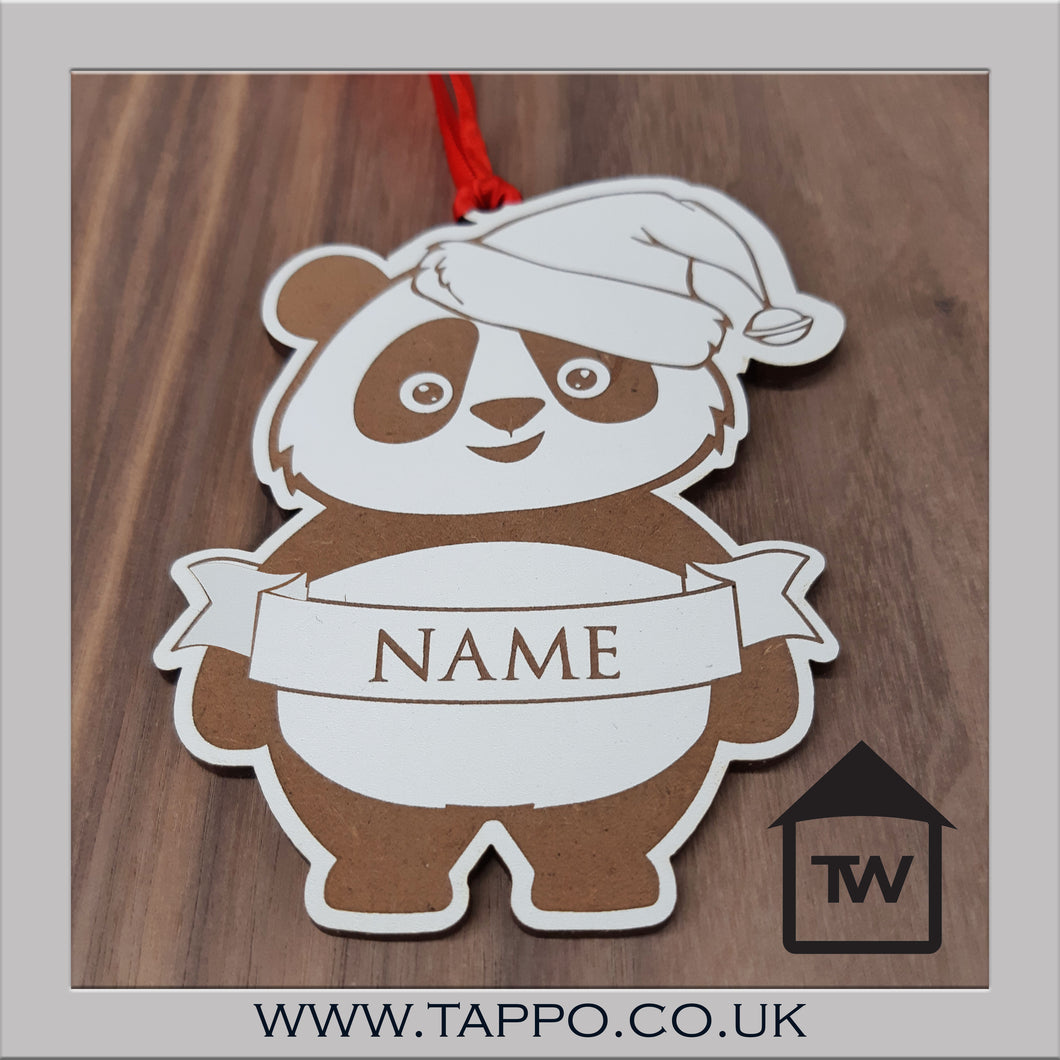 White Personalised Christmas tree hanging Decorations - PANDA