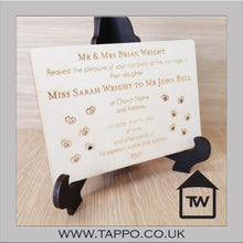 A5 Wooden Wedding Invitations White or Wood