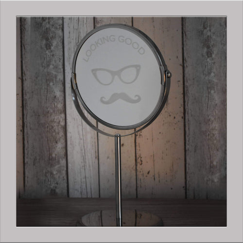Novelty moustache mirror
