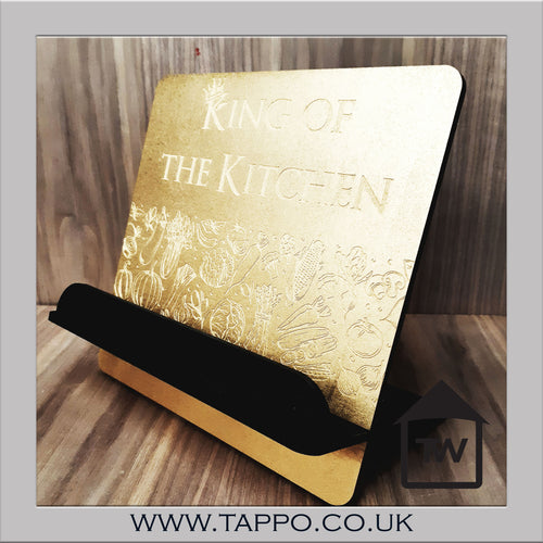 King or Queen of the kitchen Recipe book stand Gold and black