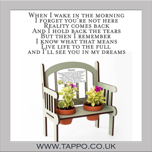 see you in my dreams Outdoor miniature Memorial Bench keepsake with pots