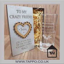 Wooden Gift Boxed Personalised she is beauty glass any name and drink