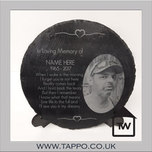 round memorial remembrance  sympathy slate with Photo engraved