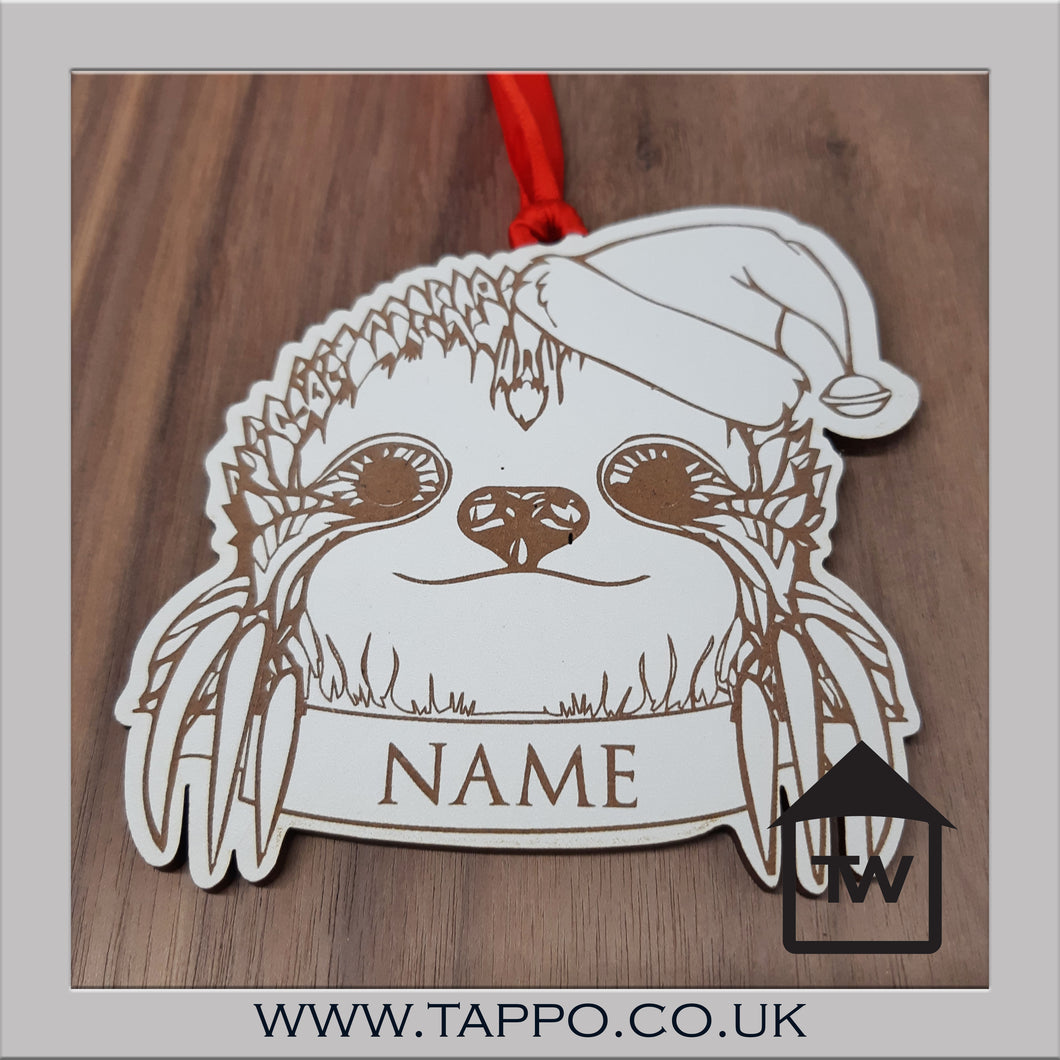 White Personalised Christmas tree hanging Decorations - SLOTH
