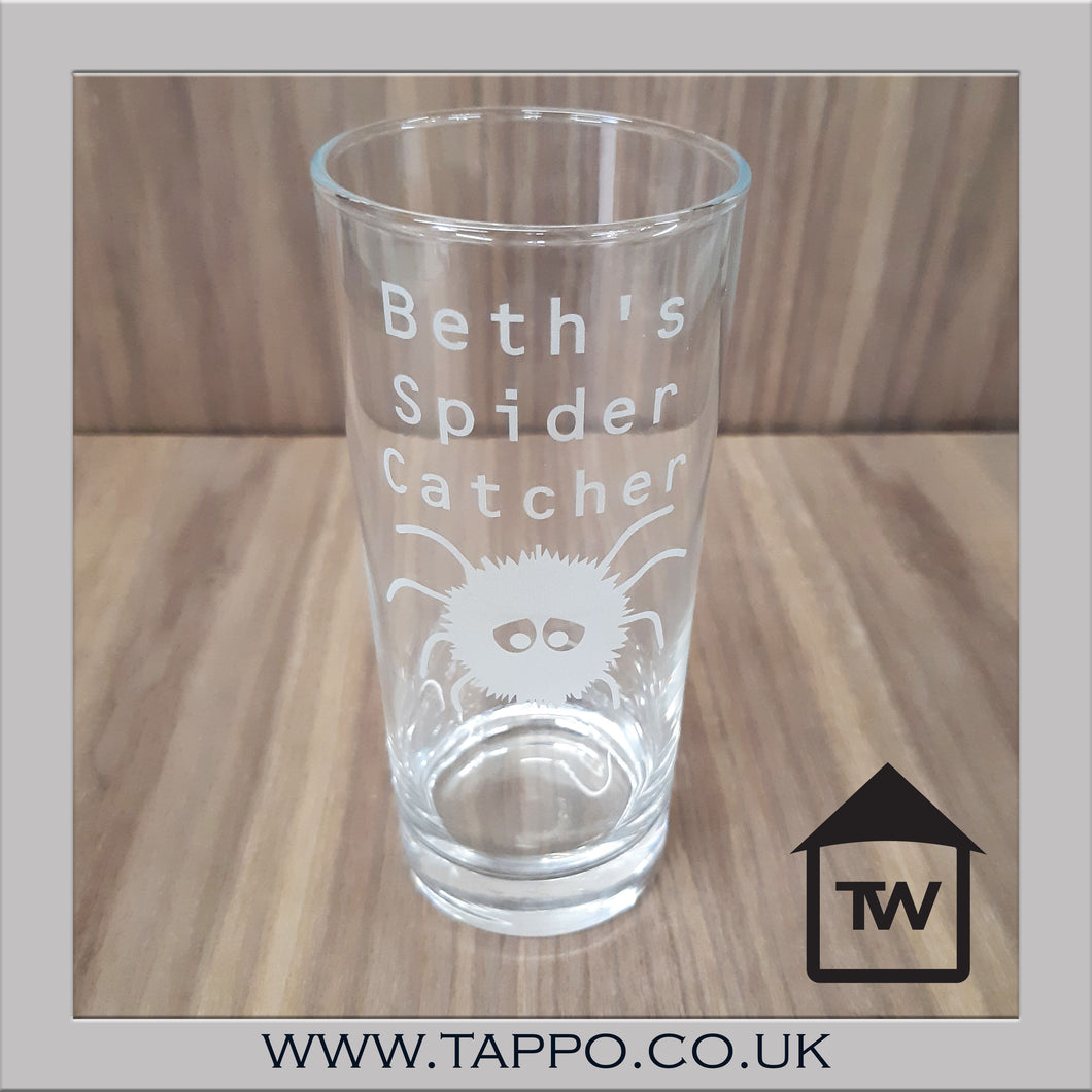Personalised spider catcher glass