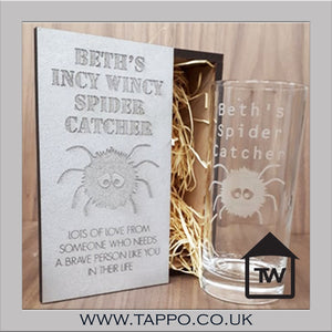 Wooden Gift Boxed Personalised spider glass