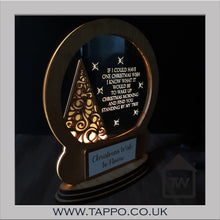Christmas Wish snow globe tree design personalised decoration memorial