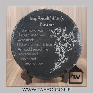 My Beautiful Wife slate plaque and stand gift