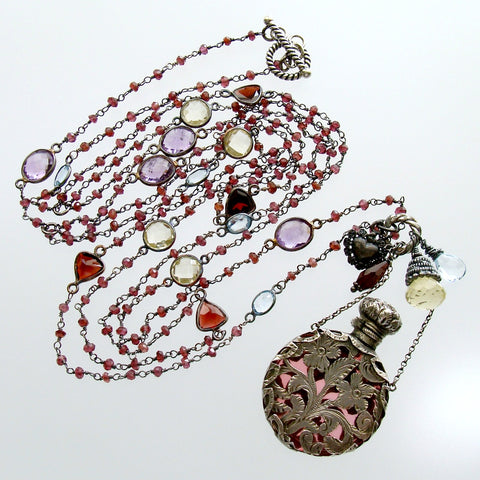 #1 Gisela III Necklace - Garnet Triple Strand Amethyst Silver Chatelaine Bottle