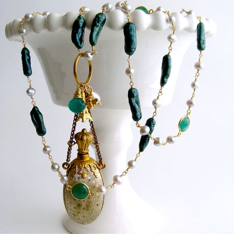 #2 Maurelle Necklace - Freshwater Pearls Green Onyx  Victorian Stars Scent Bottle