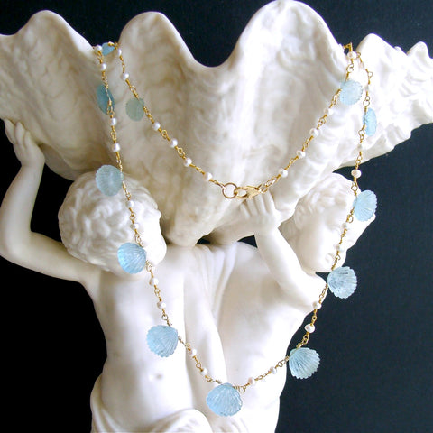 #2 Les Coquilles de la Mer Necklace - Aquamarine Carved Shells Pearls