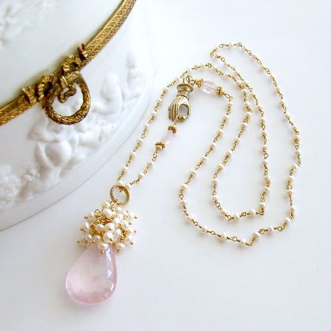 #2 Petales de Rose III Necklace - Rose Quartz Seed Pearls Victorian Hand Clasp
