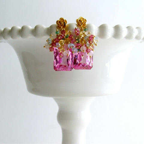#4 Delphine II Earrings - Pink Topaz Cluster Earrings