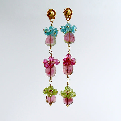 Watermelon Tourmaline Slices Pink Topaz Apatite Peridot Duster Earrings - Andrea IV Earrings