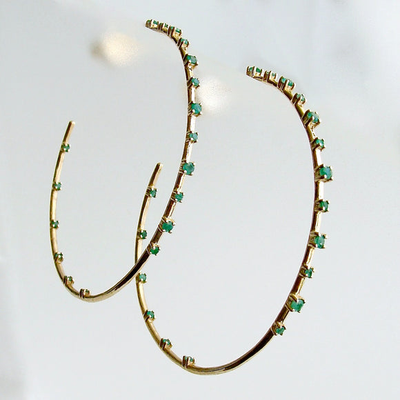 Inside Outside 14K Yellow Gold Emerald Hoop Earrings - Ariana II Emerald Earring