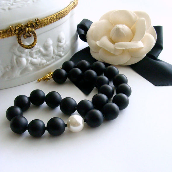 Matte Black Onyx & Shell Pearl Choker Necklace - Brooke VI Necklace