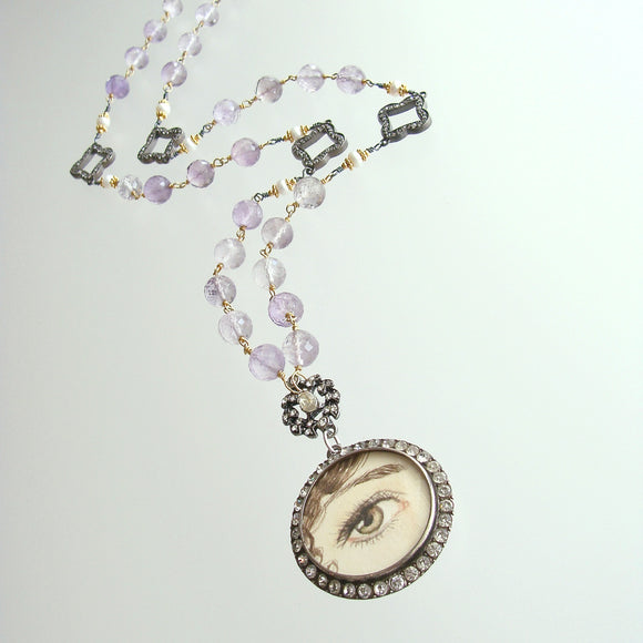 Lover's Eye Pink Amethyst Button Pearls Silver Paste Quatrefoils Necklace - Delphina Necklace