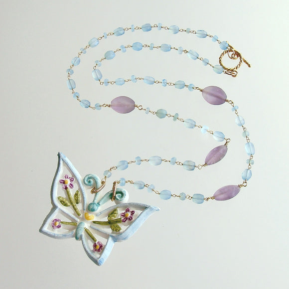 Aqua Chalcedony Matte Amethyst Reticulated Ceramic Butterfly Pendant Necklace - Farfalla Necklace