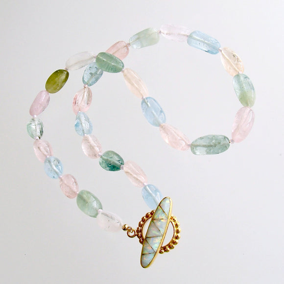 Aquamarine Morganite Heliodore Beryl Nuggets Inlay Opal Toggle Choker Necklace - Francesca II Necklace