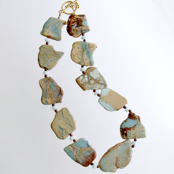 Snakeskin Jasper Amazonite Fossil Coral Necklace - Jessa IV Necklace
