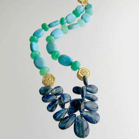 Kyanite Turquoise & Chrysoprase Statement Necklace - Lala II Necklace